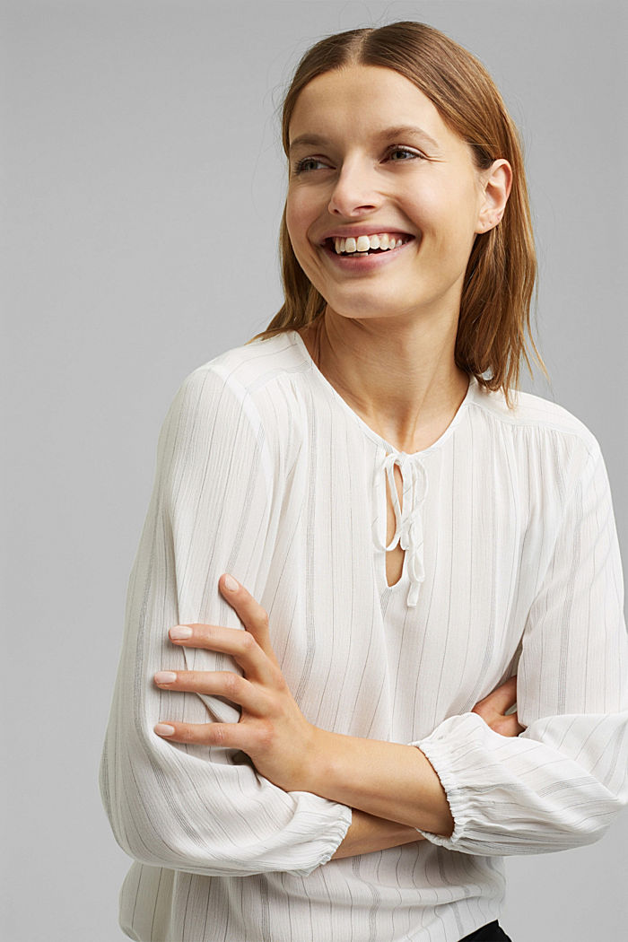 Blusa a righe stile tunica, OFF WHITE, detail image number 5