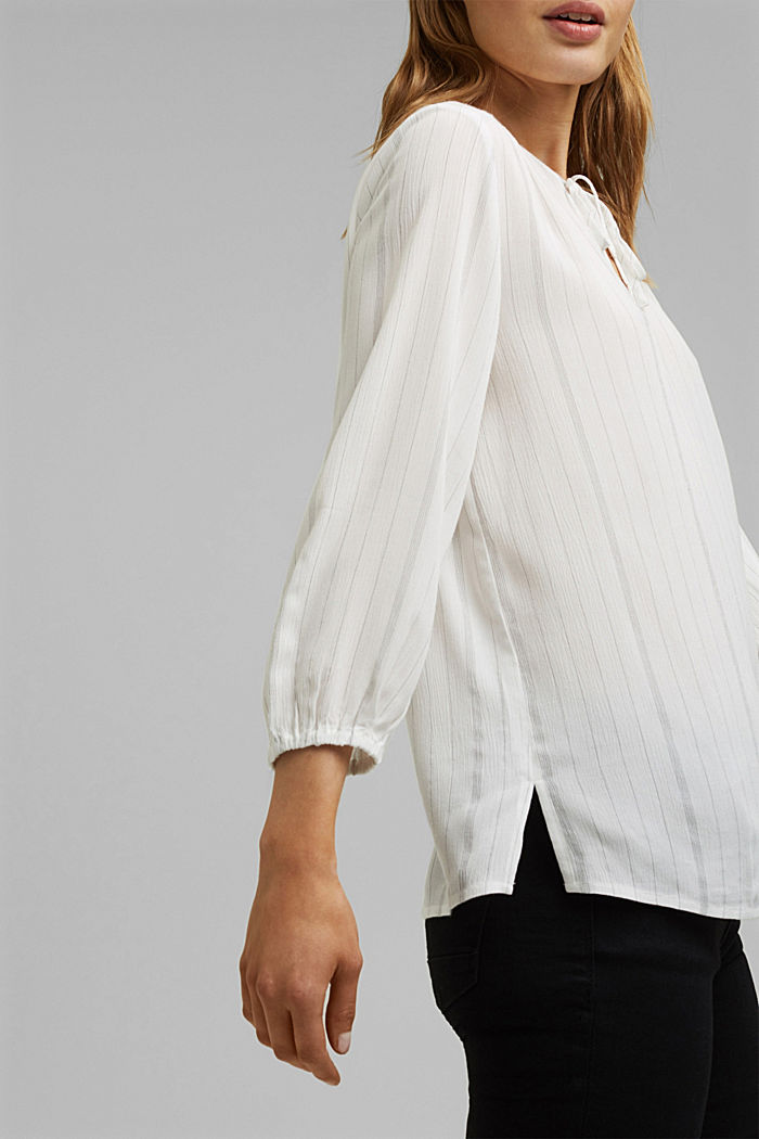 Blusa a righe stile tunica, OFF WHITE, detail image number 2