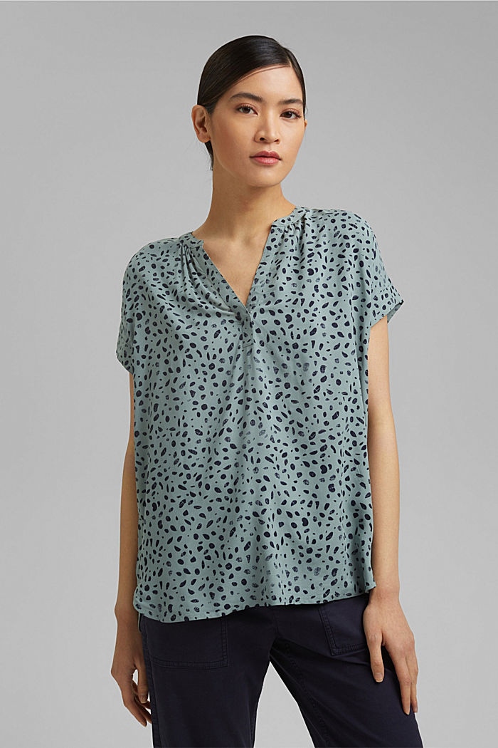 Blouse top made of LENZING™ ECOVERO™, TURQUOISE, detail image number 0