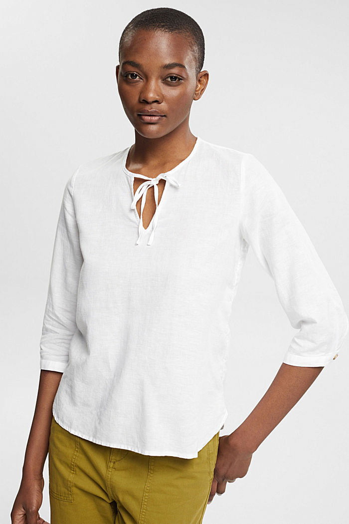 Linen: Blouse with ties, WHITE, detail image number 0