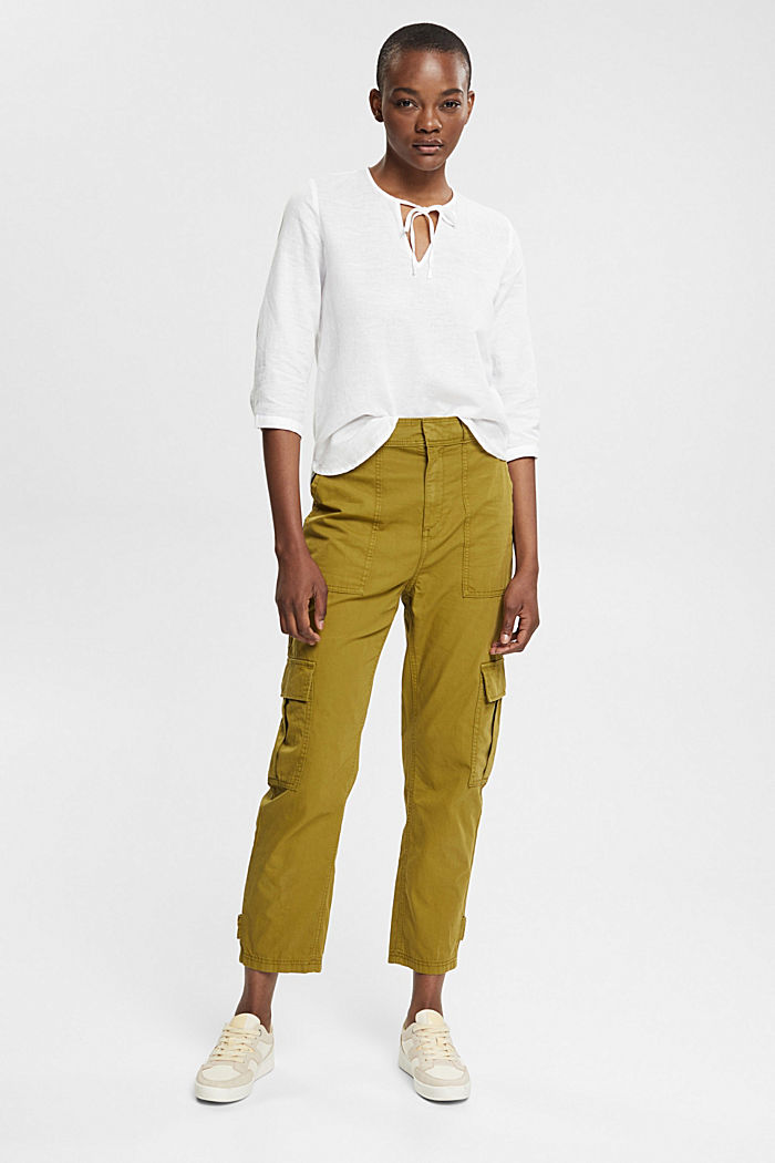 Linen: Blouse with ties, WHITE, detail image number 1