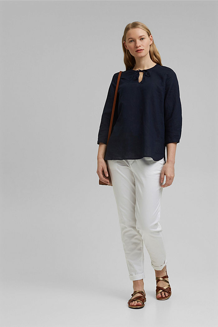 Linen: Blouse with ties, NAVY, detail image number 1