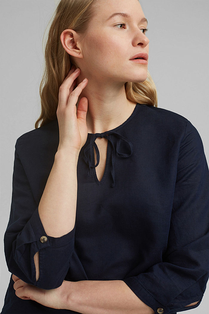 Linen: Blouse with ties, NAVY, detail image number 5