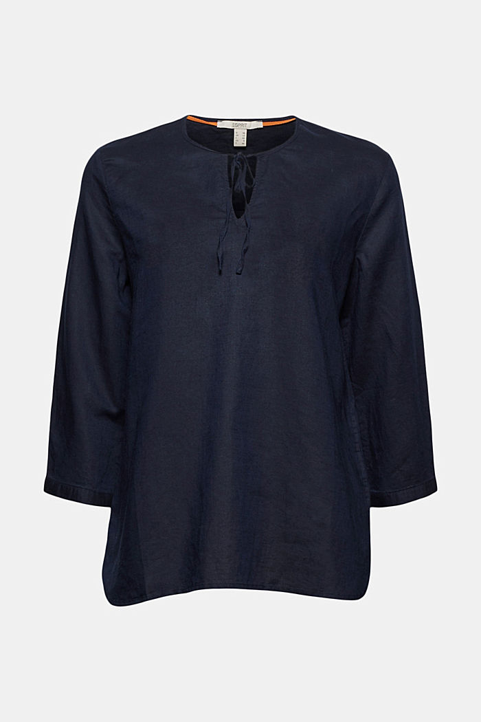 Linen: Blouse with ties, NAVY, detail image number 6