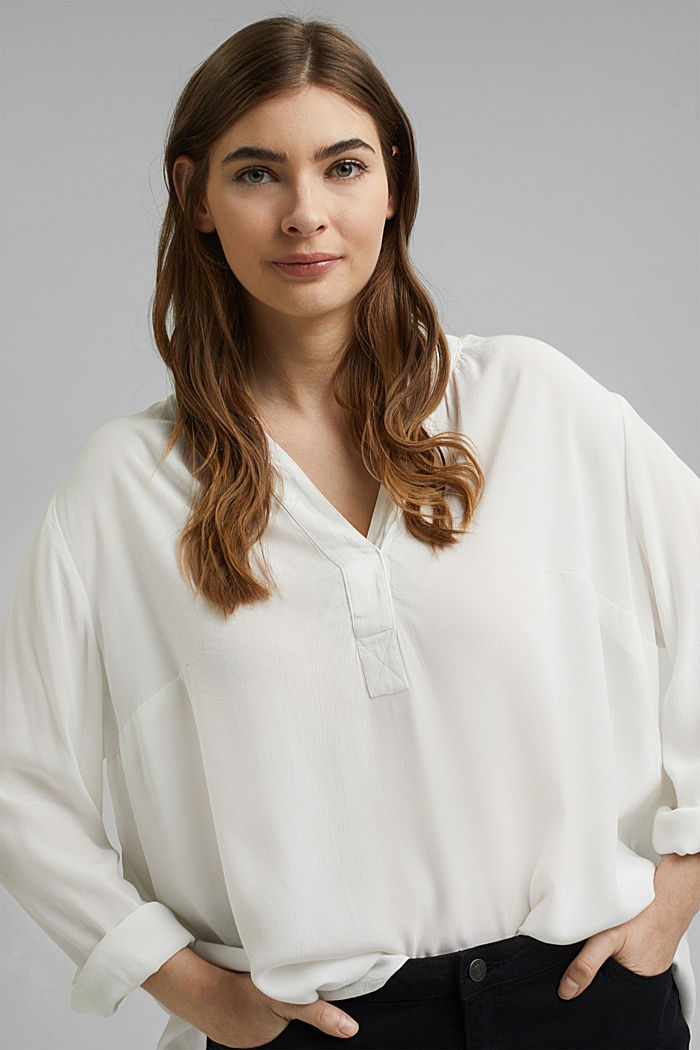 CURVY blouse made of LENZING™ ECOVERO™, OFF WHITE, detail image number 0