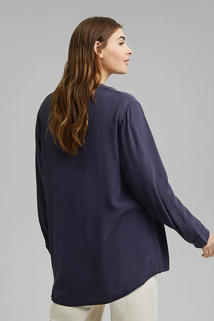CURVY blouse made of LENZING™ ECOVERO™, NAVY, detail image number 3