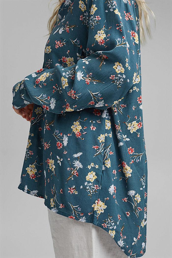CURVY Blusa estampada en LENZING™ ECOVERO™, TURQUOISE, detail image number 5