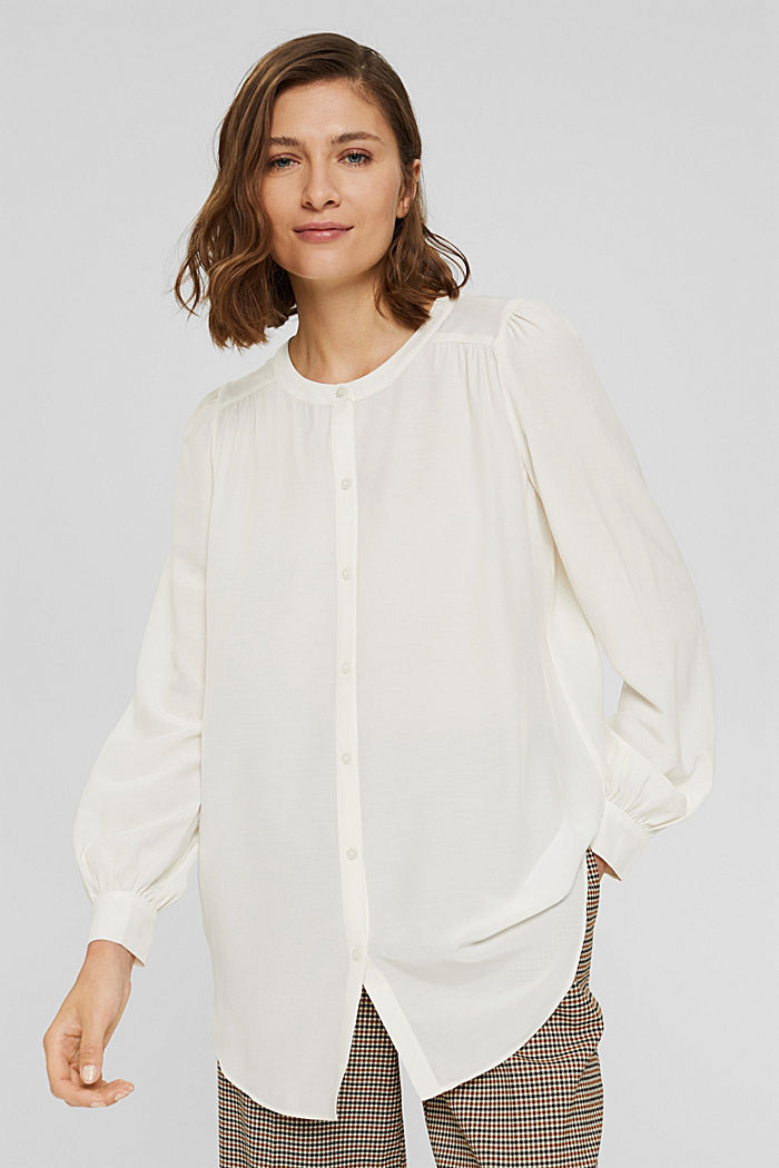 Long blouse with LENZING™ ECOVERO™, OFF WHITE, detail image number 0
