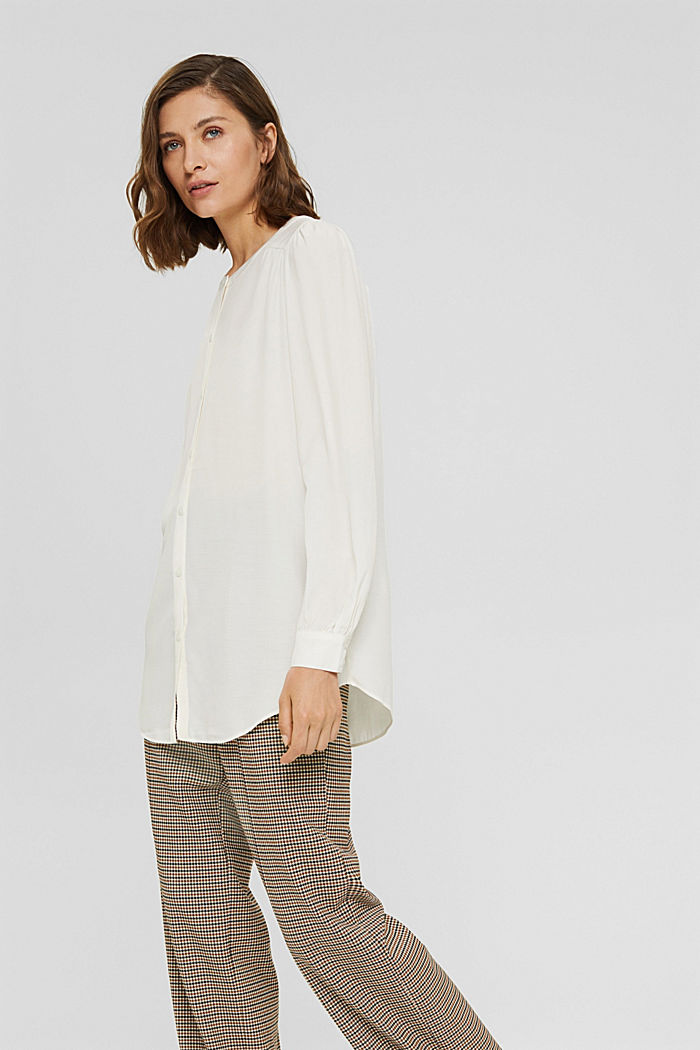 Long blouse with LENZING™ ECOVERO™, OFF WHITE, detail image number 5