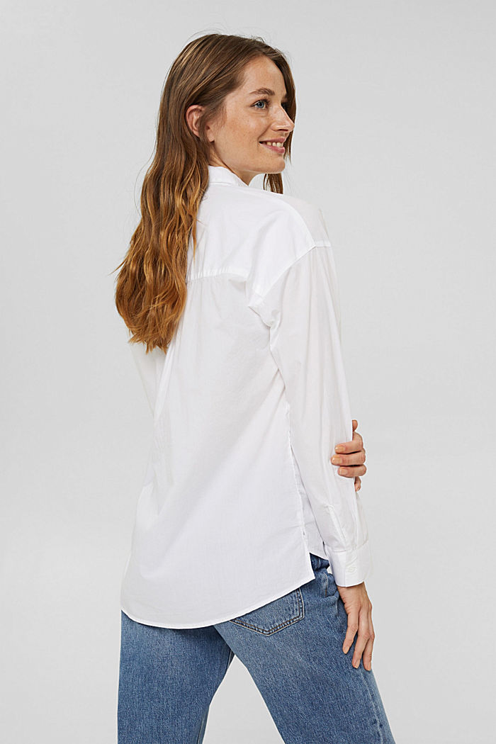 Oversized shirt blouse made of 100% organic cotton, WHITE, detail image number 3