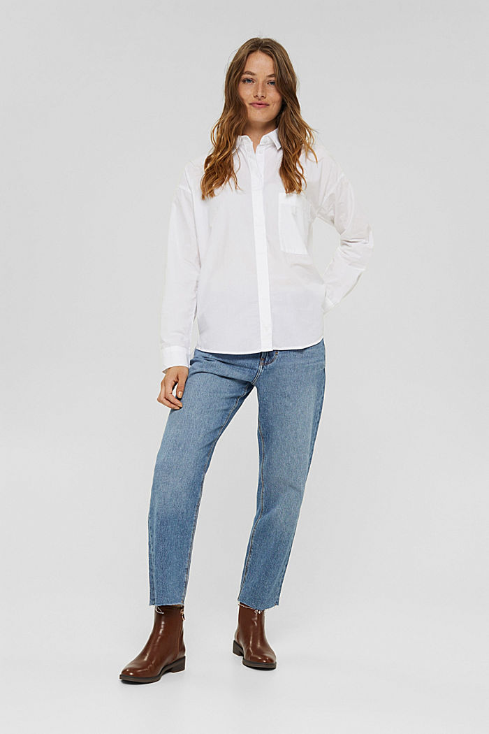Oversized shirt blouse made of 100% organic cotton, WHITE, detail image number 5