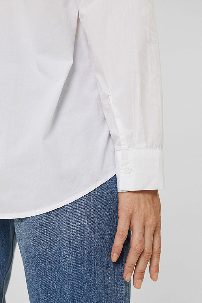 Oversized shirt blouse made of 100% organic cotton, WHITE, detail image number 2
