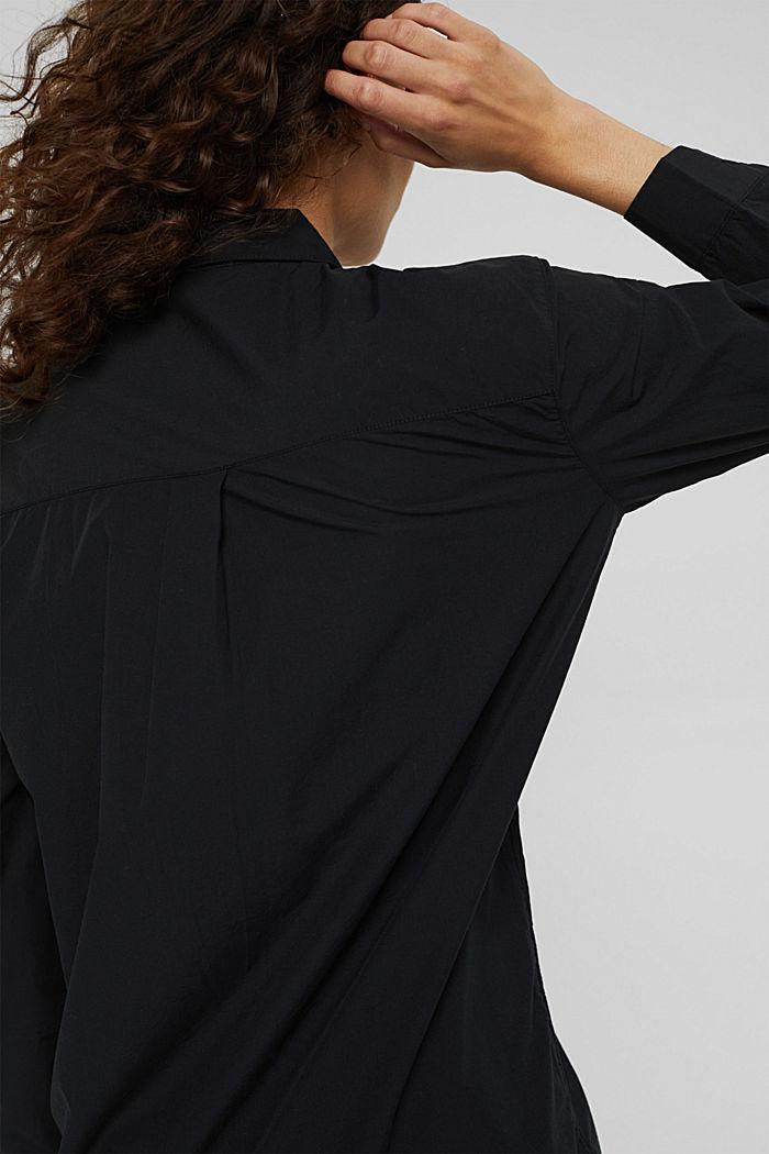 Long chemisier en 100% coton biologique, BLACK, detail image number 2