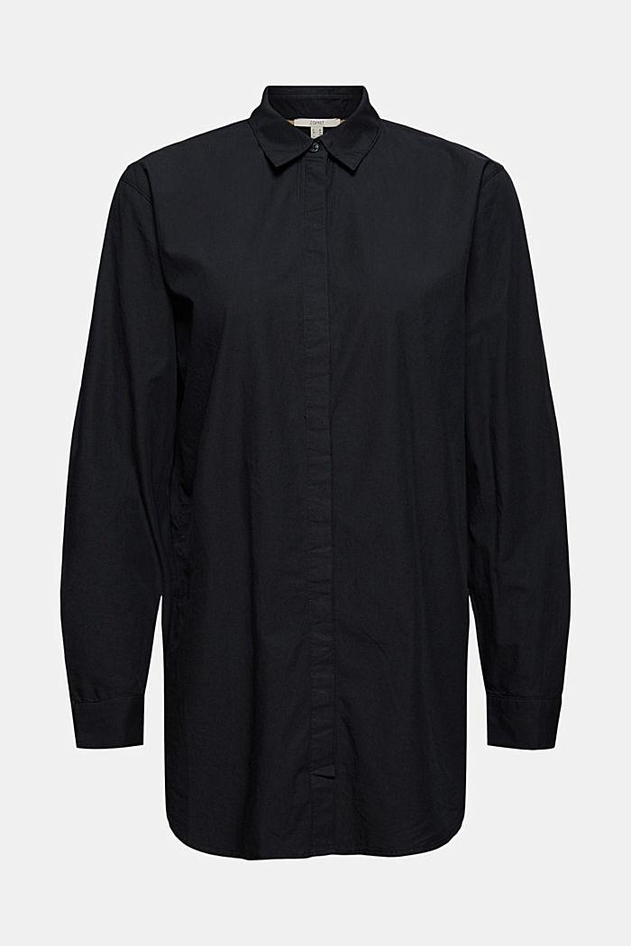 Long chemisier en 100% coton biologique, BLACK, detail image number 6