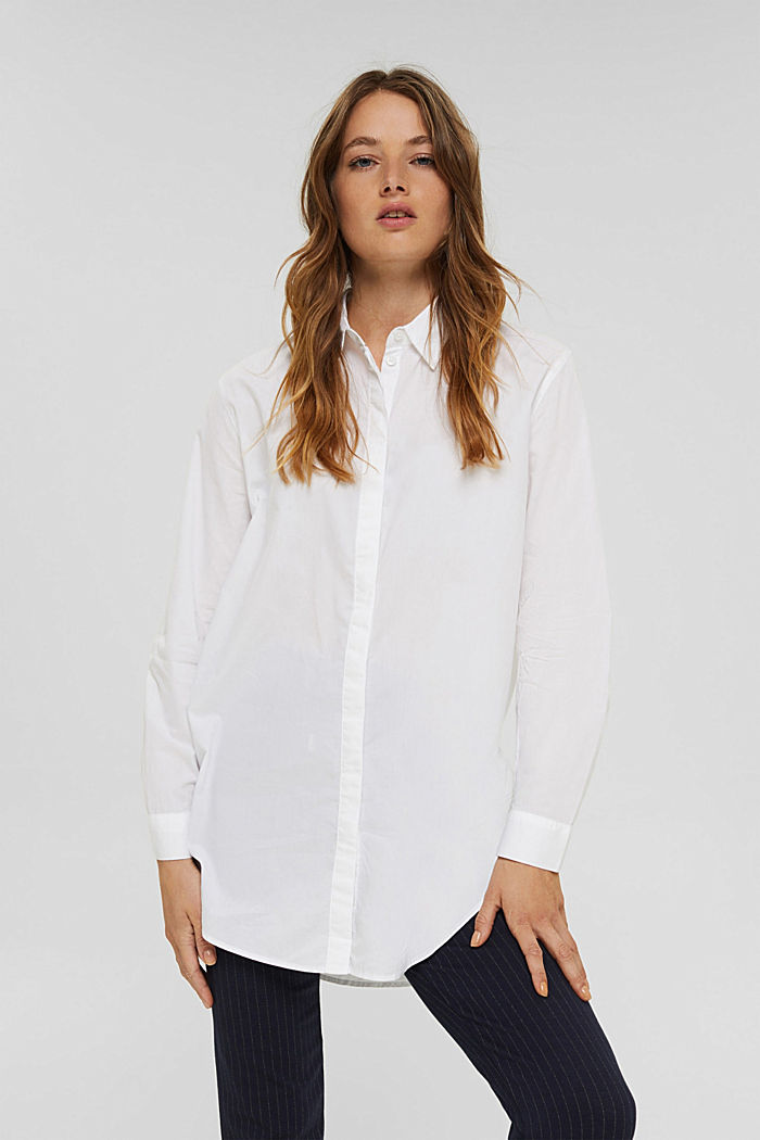 Blusa lunga in 100% cotone biologico, WHITE, detail image number 0
