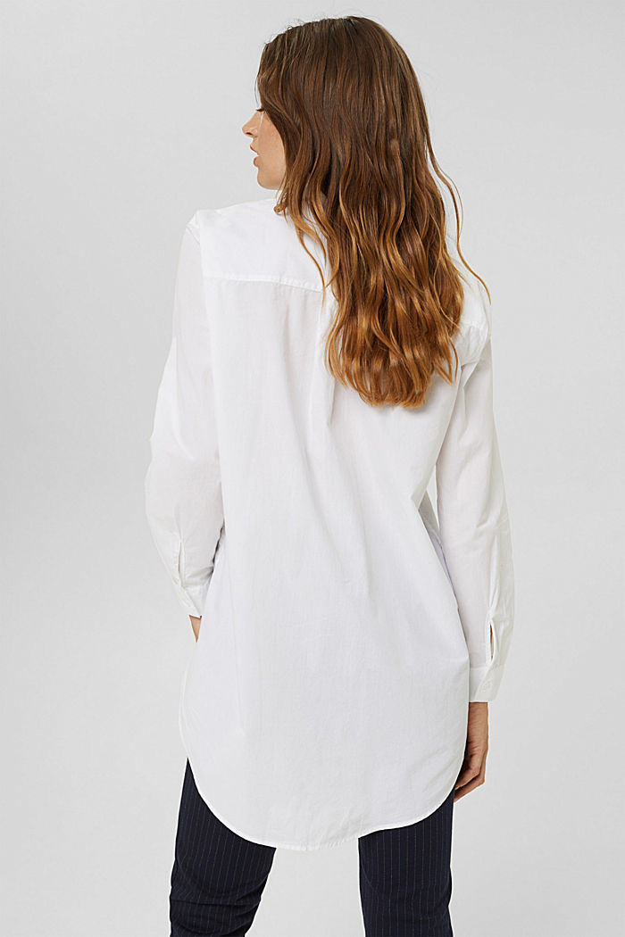 Blusa lunga in 100% cotone biologico, WHITE, detail image number 3