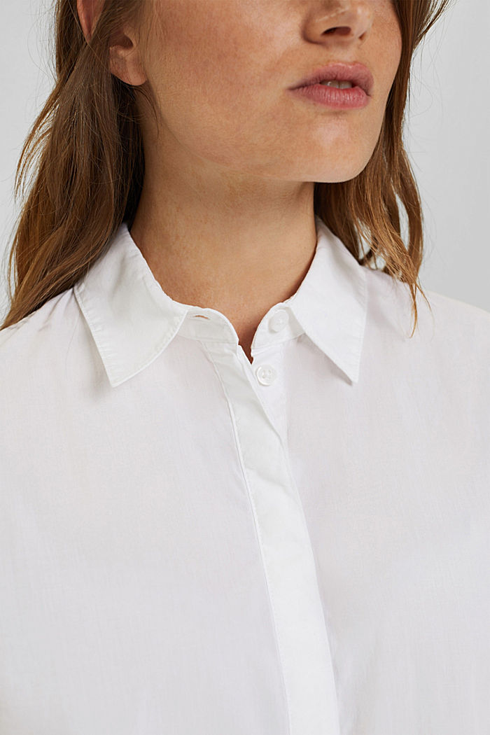 Blusa lunga in 100% cotone biologico, WHITE, detail image number 2
