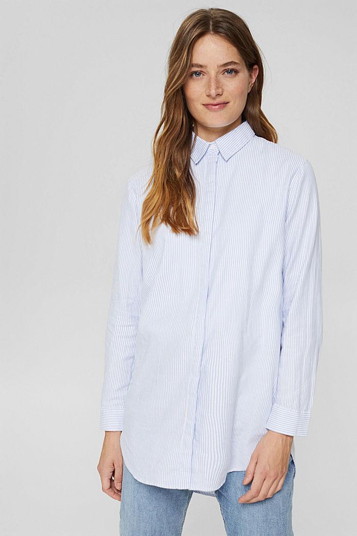 Overhemdblouse van 100% organic cotton, PASTEL BLUE, detail image number 0