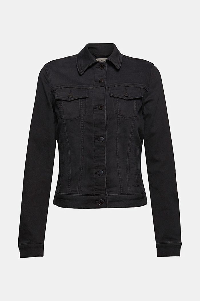 Denim jacket made of soft denim tracksuit fabric