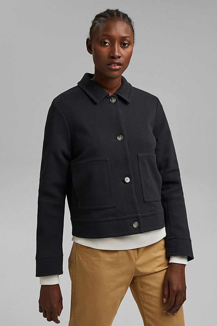 Boxy jacket with twill texture, BLACK, detail image number 0
