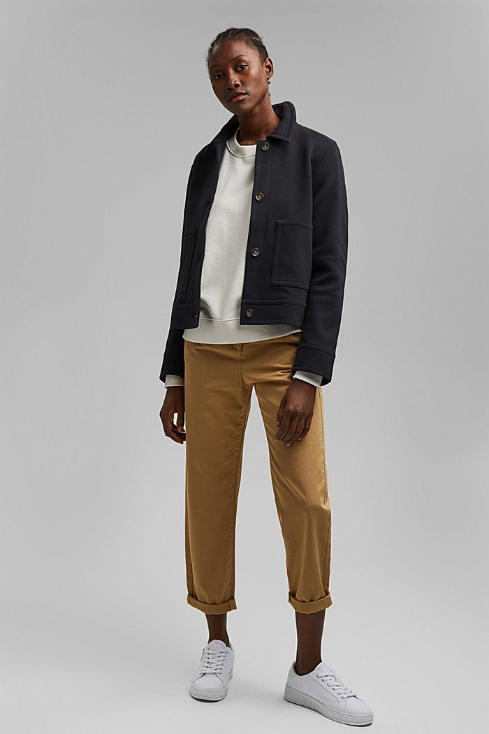 Boxy jacket with twill texture, BLACK, detail image number 1