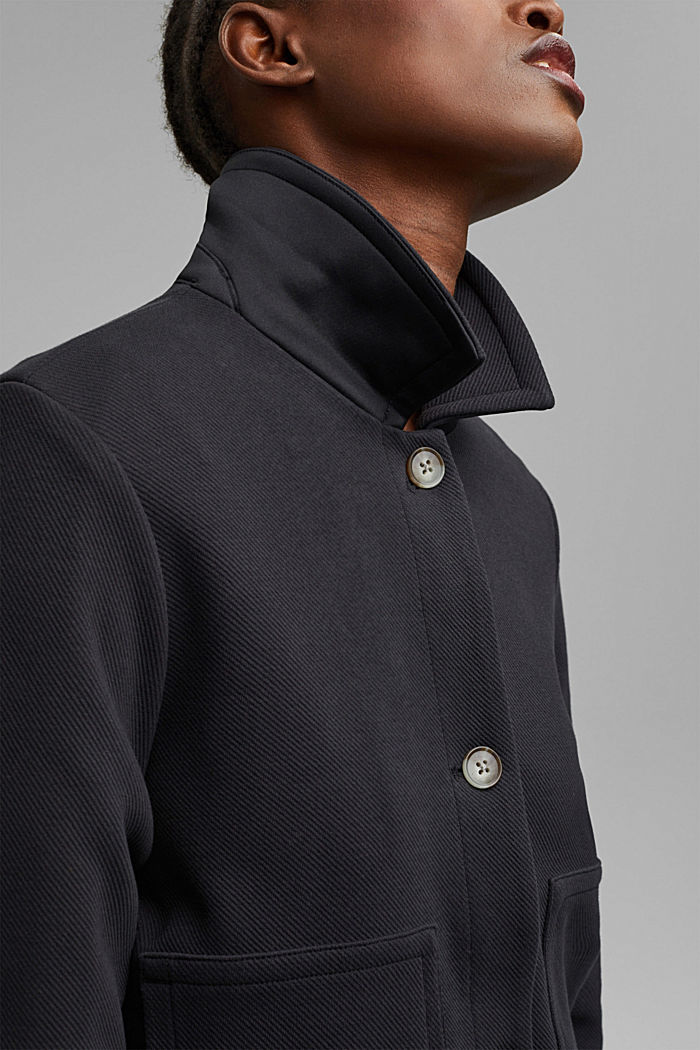 Boxy jacket with twill texture, BLACK, detail image number 2