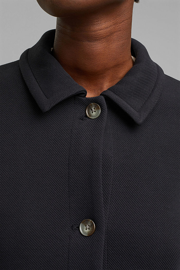 Boxy jacket with twill texture, BLACK, detail image number 5