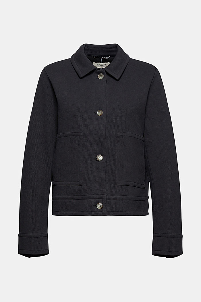 Boxy jacket with twill texture, BLACK, detail image number 6