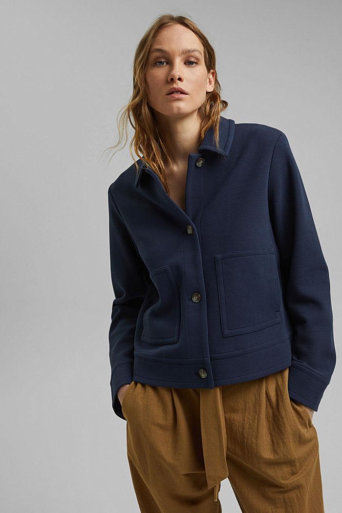 Boxy jacket with twill texture