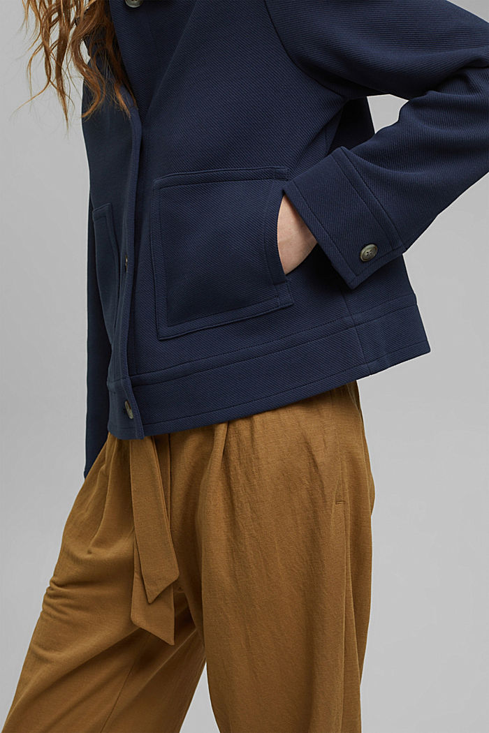 Giacca squadrata con struttura in twill, NAVY, detail image number 5
