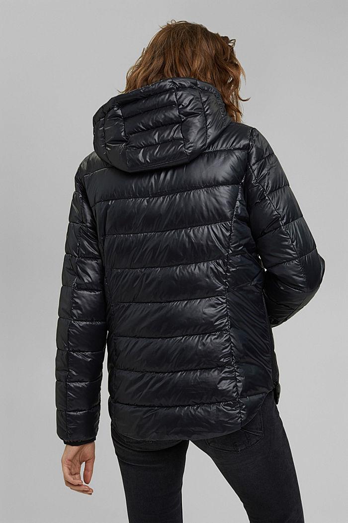 In materiale riciclato: giacca trapuntata con cappuccio regolabile, BLACK, detail image number 3