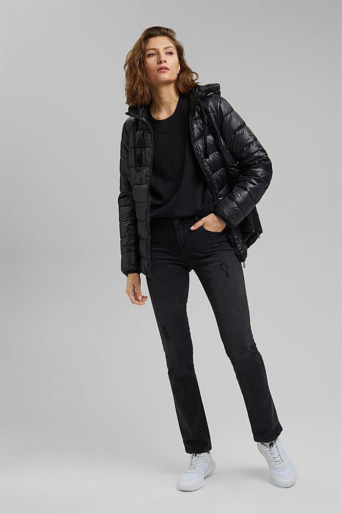 In materiale riciclato: giacca trapuntata con cappuccio regolabile, BLACK, detail image number 1
