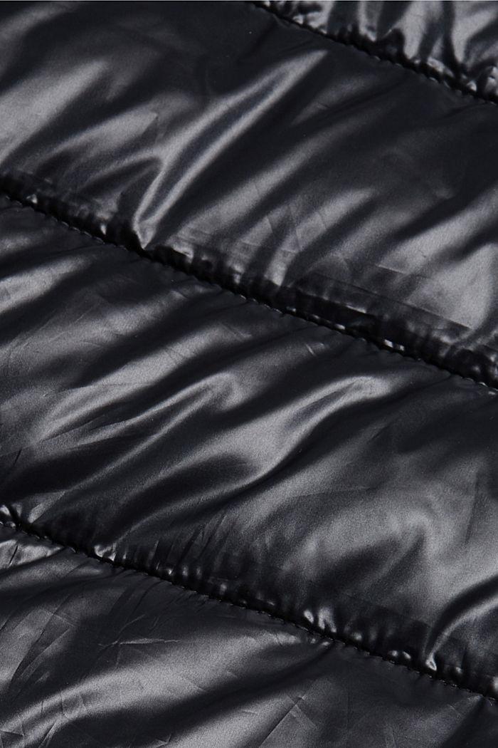 In materiale riciclato: giacca trapuntata con cappuccio regolabile, BLACK, detail image number 4