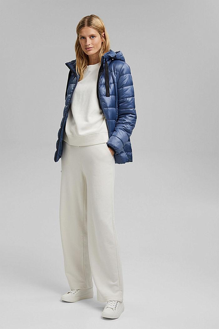 En matière recyclée: la veste matelassée à capuche ajustable, GREY BLUE, detail image number 1