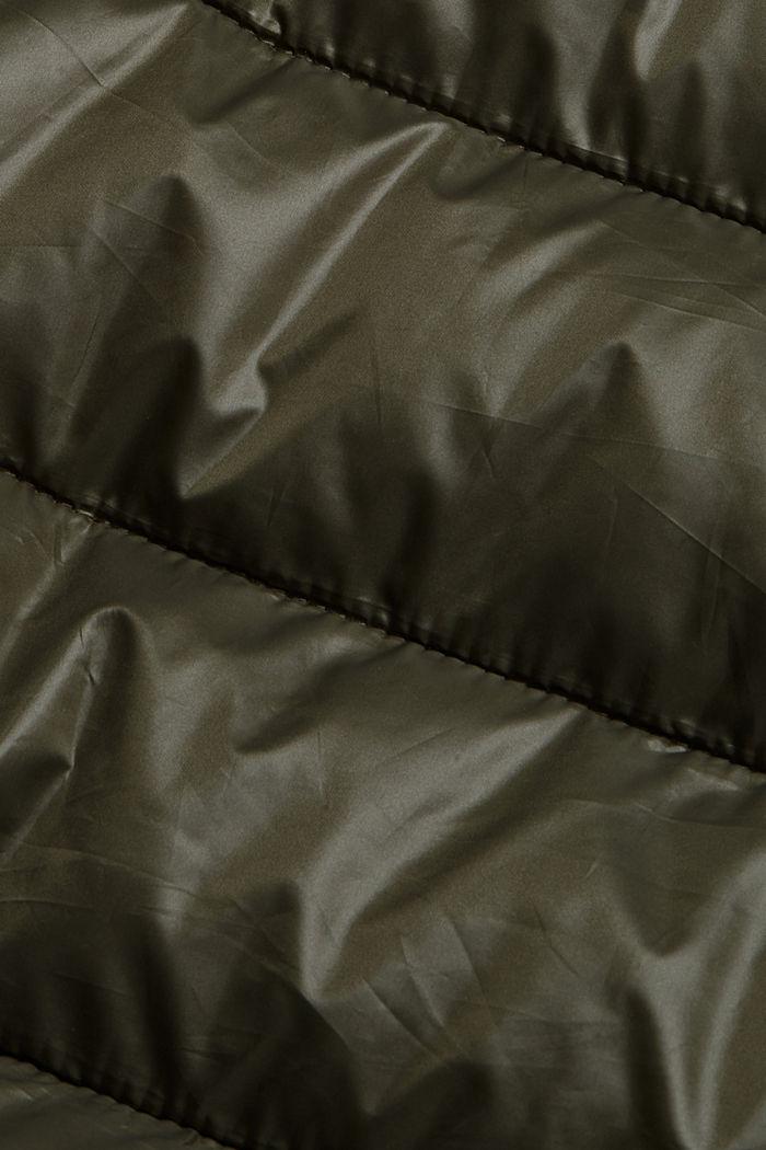 Gerecycled: superlichte bodywarmer met capuchon, DARK KHAKI, detail image number 4