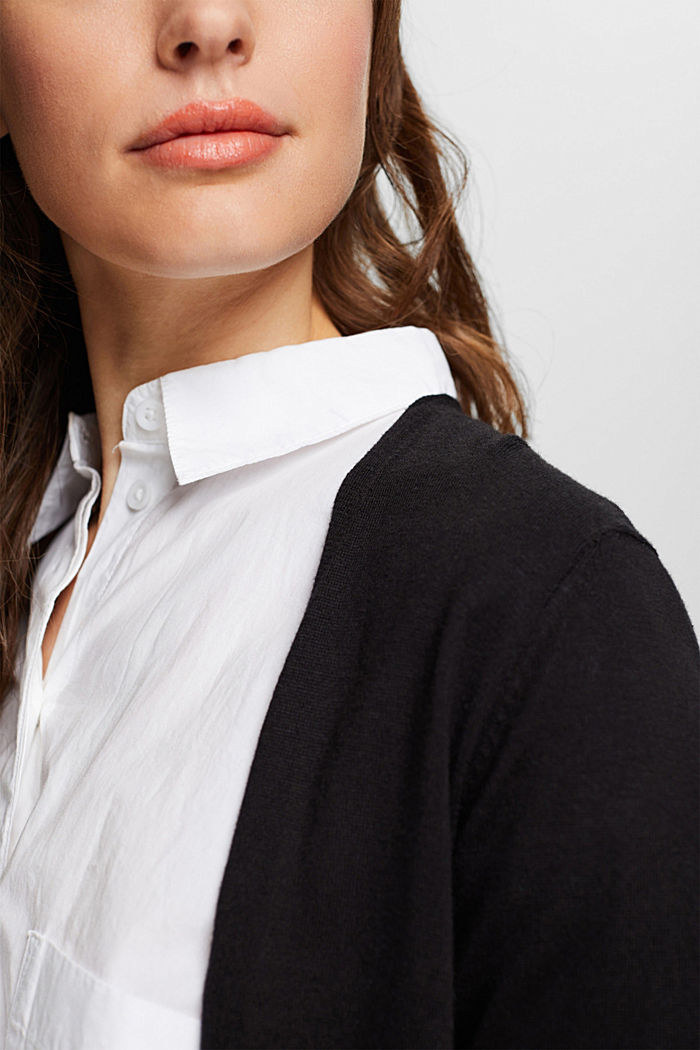 Cardigan with organic cotton, BLACK, detail image number 2