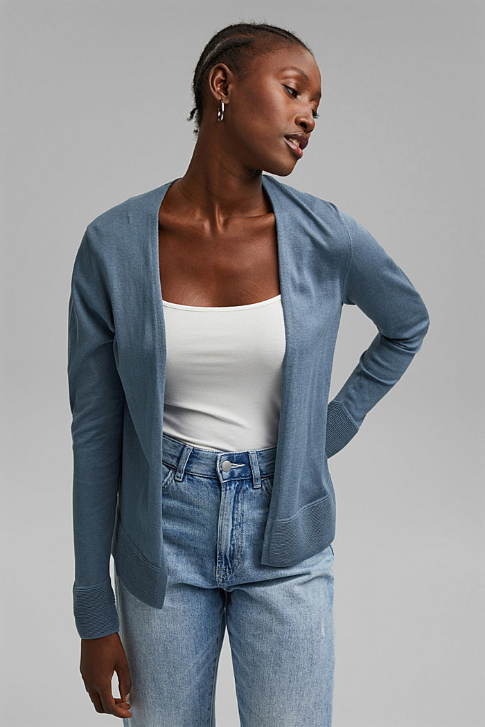 Cardigan with organic cotton, GREY BLUE, detail image number 0