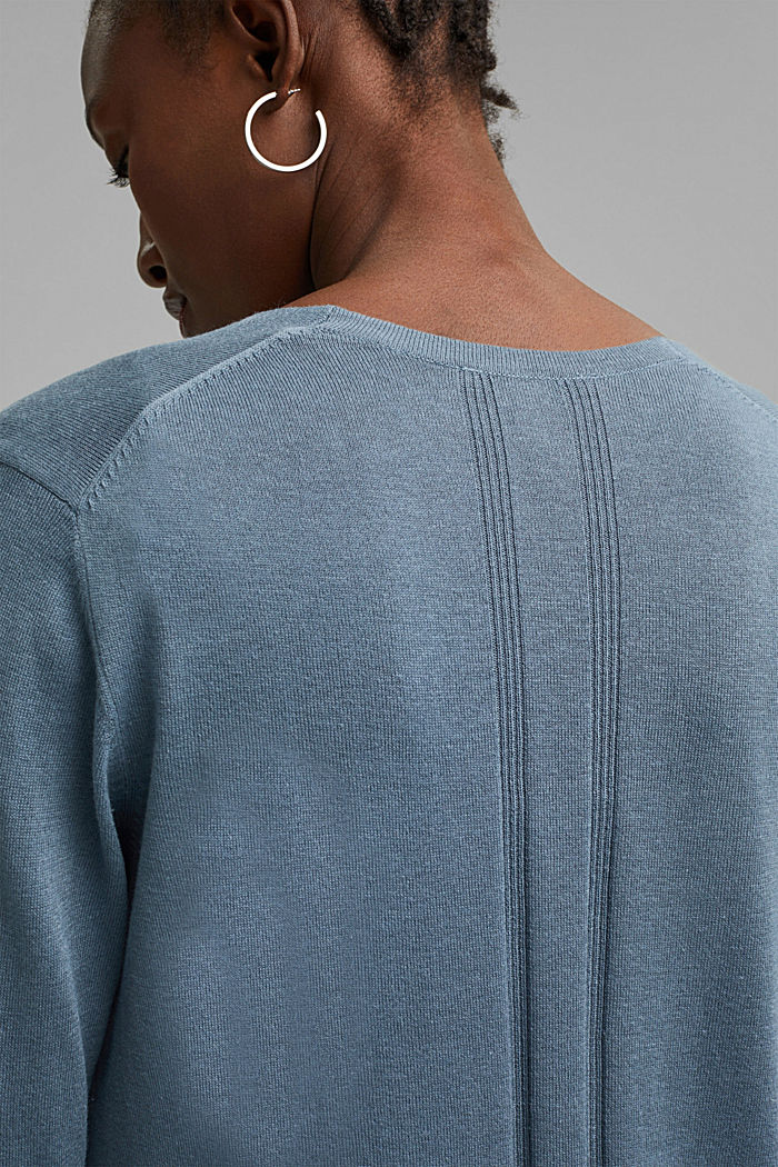 Cardigan with organic cotton, GREY BLUE, detail image number 2
