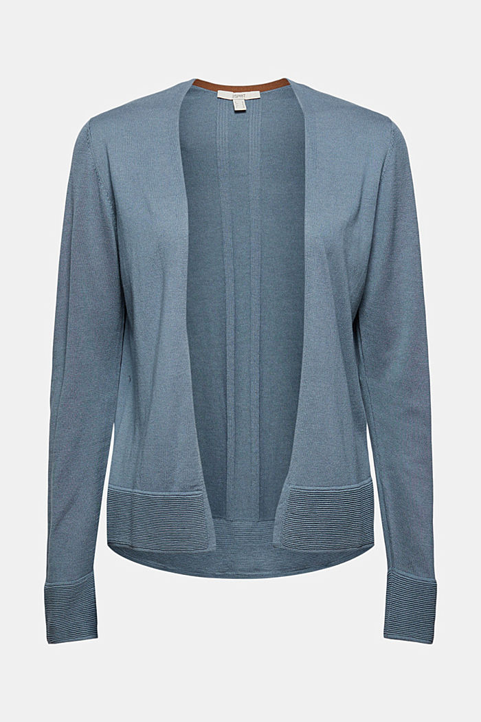 Cardigan with organic cotton, GREY BLUE, detail image number 5