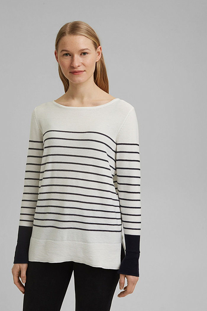 Jumper with stripes, organic cotton, OFF WHITE, detail image number 0