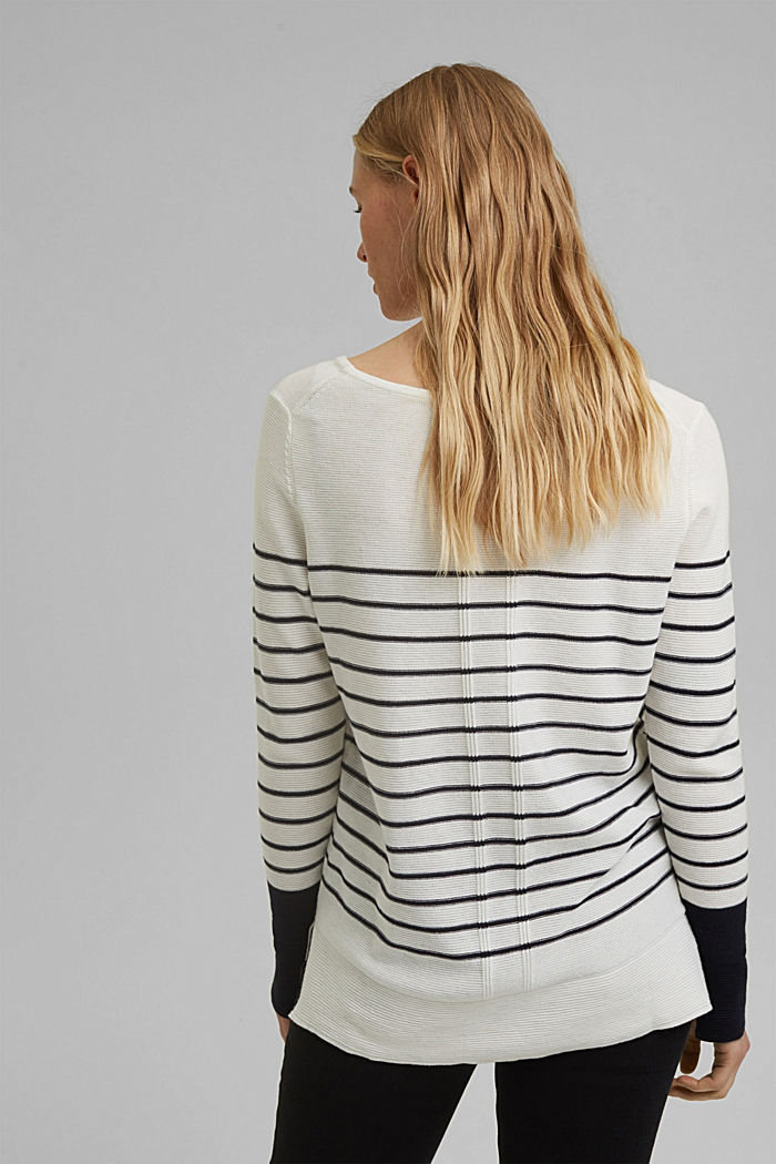 Jumper with stripes, organic cotton, OFF WHITE, detail image number 3