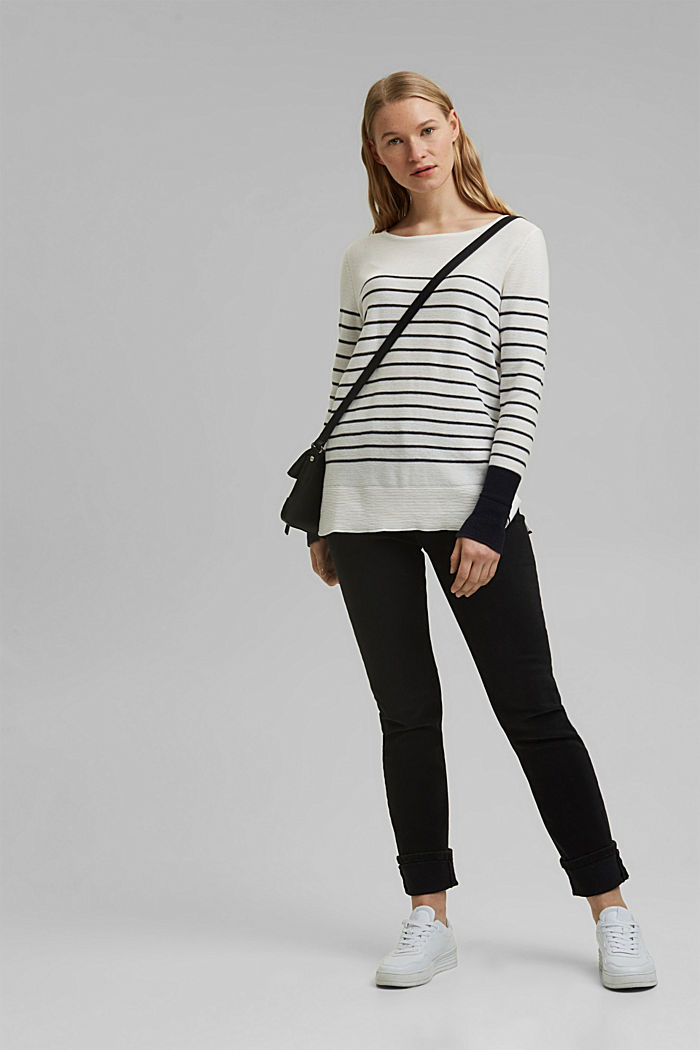 Jumper with stripes, organic cotton, OFF WHITE, detail image number 1