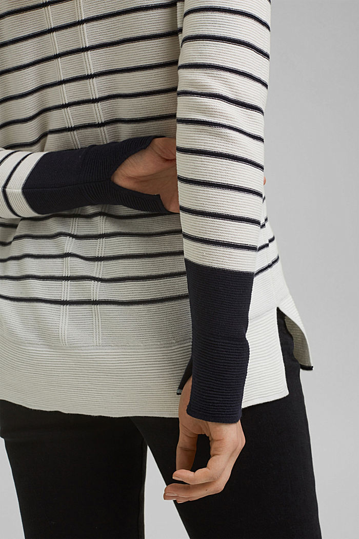Jumper with stripes, organic cotton, OFF WHITE, detail image number 2