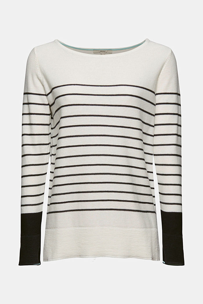 Jumper with stripes, organic cotton, OFF WHITE, detail image number 5