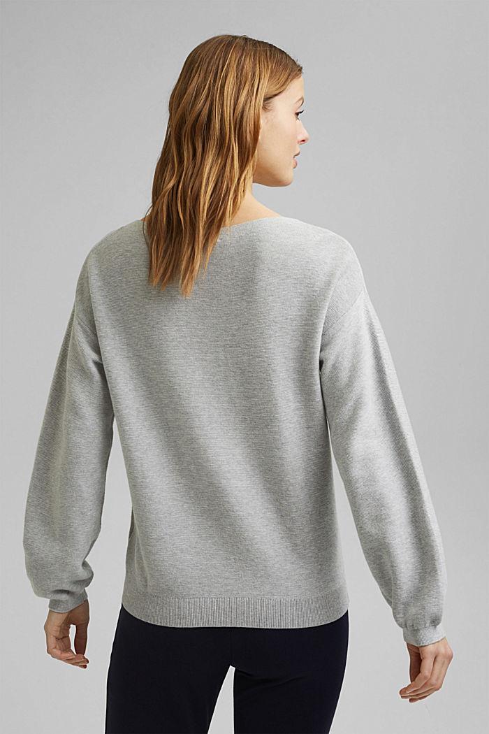 Bateau neckline jumper made of organic cotton, LIGHT GREY, detail image number 3