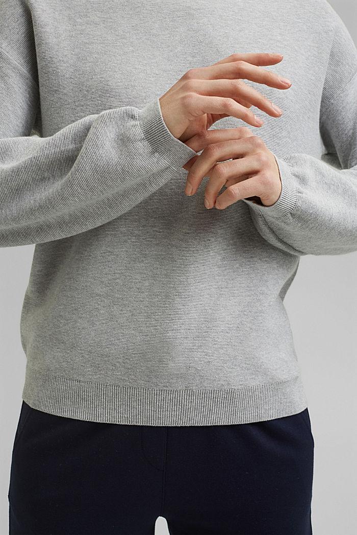Bateau neckline jumper made of organic cotton, LIGHT GREY, detail image number 2