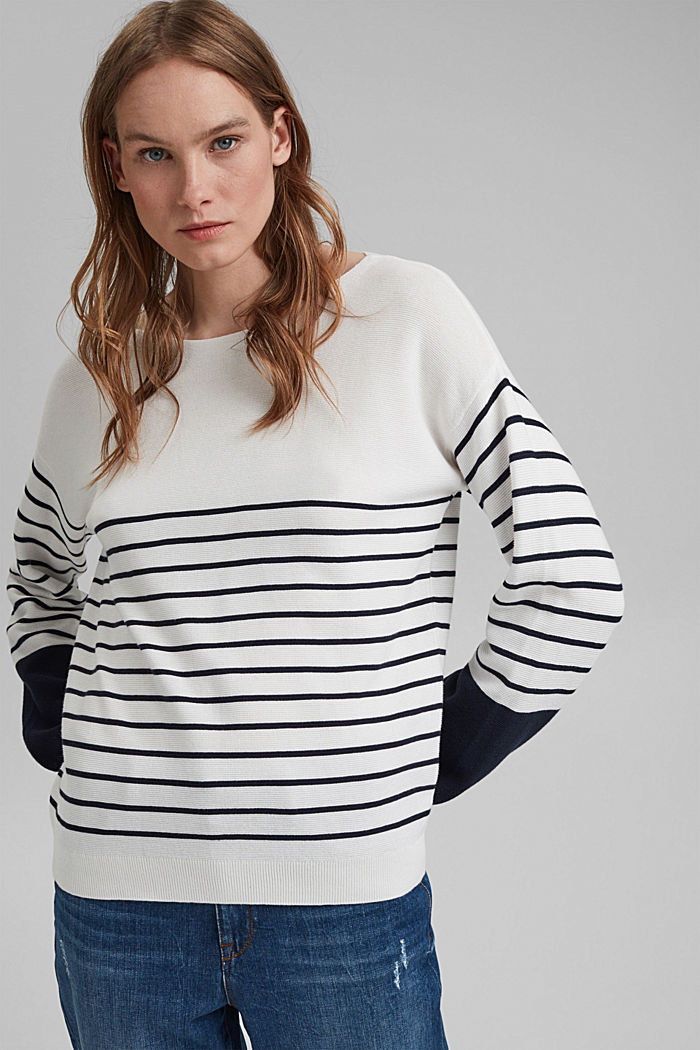 Bateau neckline jumper made of organic cotton, NEW OFF WHITE, detail image number 0