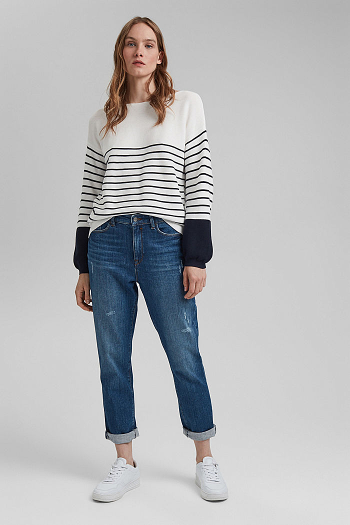 Bateau neckline jumper made of organic cotton, NEW OFF WHITE, detail image number 1