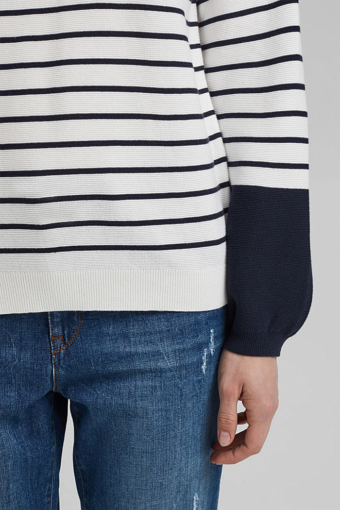 Bateau neckline jumper made of organic cotton, NEW OFF WHITE, detail image number 2