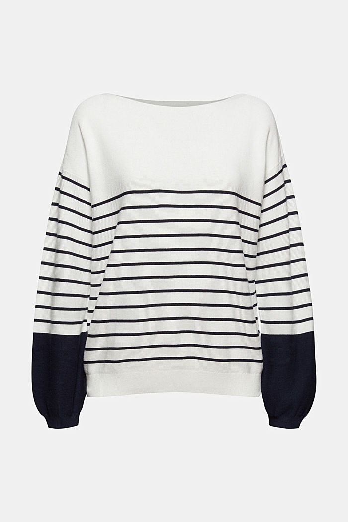 Bateau neckline jumper made of organic cotton, NEW OFF WHITE, detail image number 5